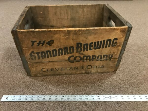 Vintage Wooden Beer Crate Standard Brewing Company Cleveland Ohio Industrial