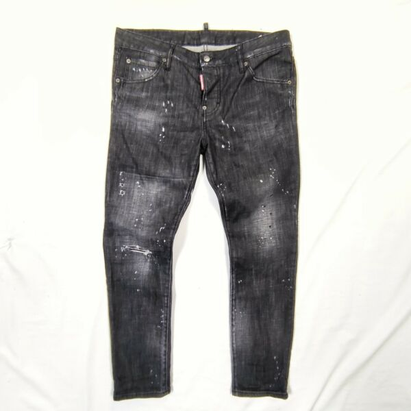 Dsquared Cool Girl Jeans Black Distressed Washed Denim Sz 42 165 70a Italy paint $89.00