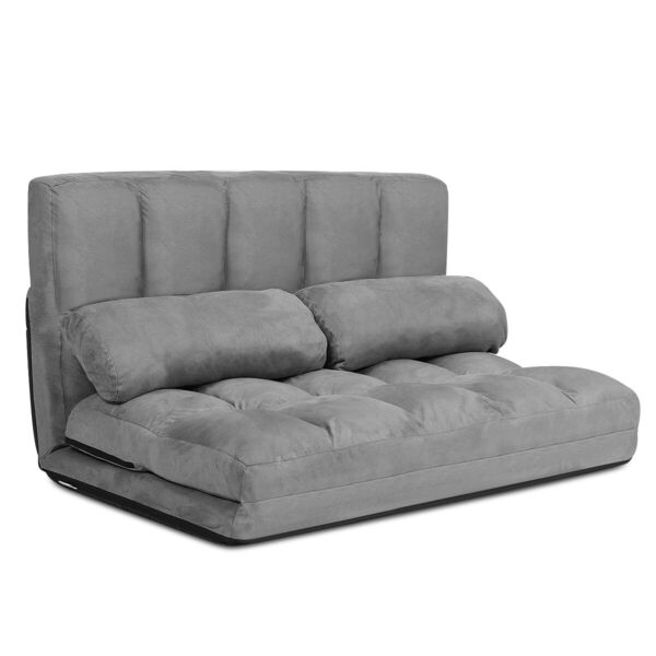 Foldable Floor Sofa Bed 6 Position Adjustable Lounge Couch with 2 Pillows Grey