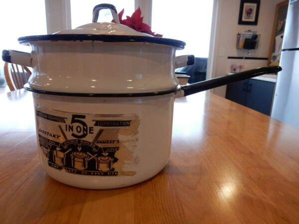 Vintage Enamelware Porcelain 5 In One Double Boiler White Black Original Sticker $25.99
