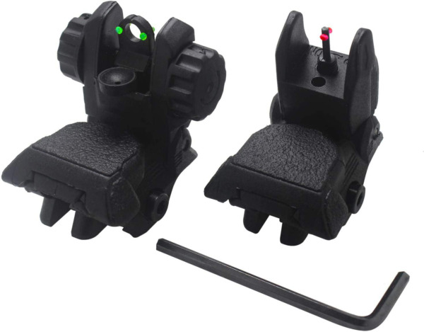 New Sights Awotac Polymer Black Fiber Optics with Iron Flip Up Front And Rear $33.99