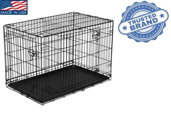 48 Inch Dog Cage Large Crate Kennel 2 Door Foldable With Tray and Divider