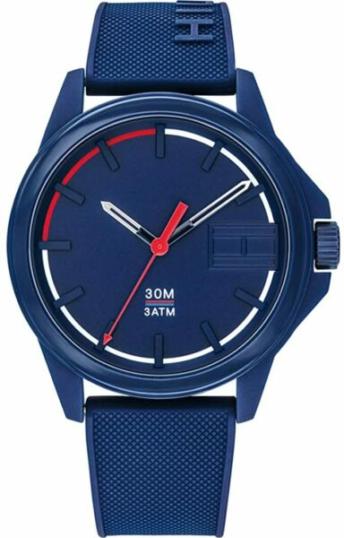 NEW Tommy Hilfiger Men#x27;s Analogue Watch Blue Silicone Strap 1791625 $73.95