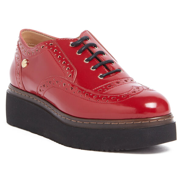 Love Moschino Red Lace up Platform Derby Shoes $118.99