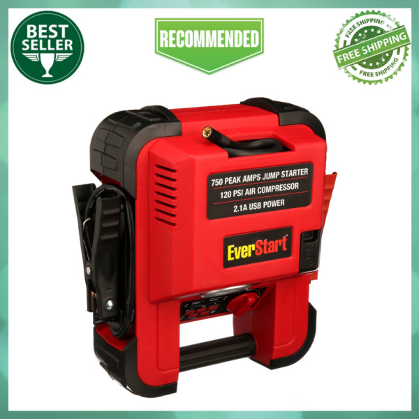 Auto Battery Jump Starter Air Compressor 750 Peak Amps Portable Car SUV Charger $47.99