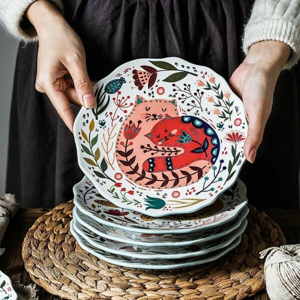 Cat Dinner Hand Painted Plate Dinner 8in 6 Styles Under Glazed Ceramic Dishes $23.99