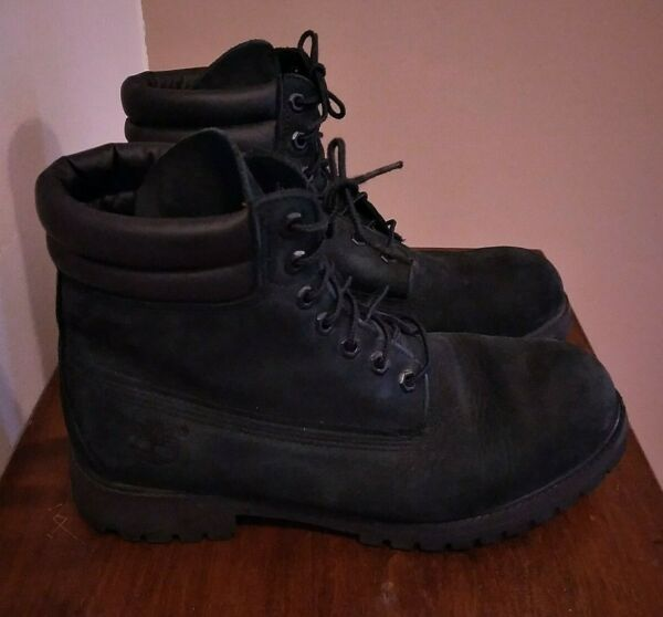 Timberland Black Premium Soft Nubuck Leather 6quot; Collar Lace Casual Boots 10W $49.99