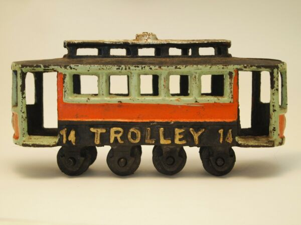 Antique Cast Iron Trolley Toy # 14
