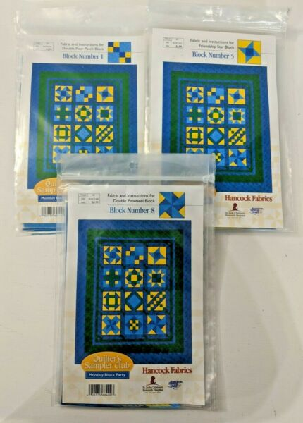 NIP Hancock Fabric Monthly Block Party Quilters Sampler Club 12 blocks NEW