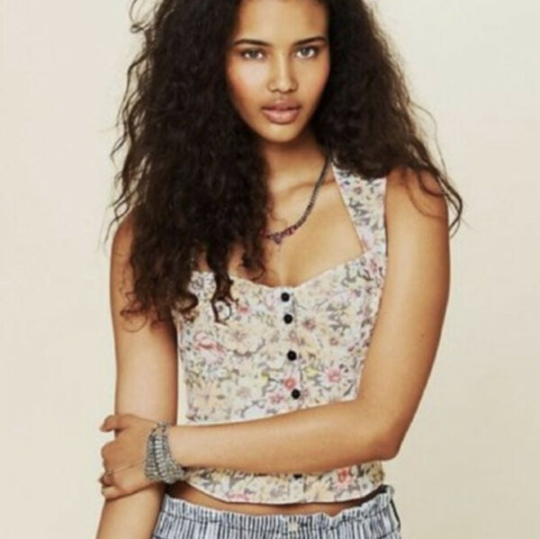 Free People New Romantics Womens Size S Floral Bustier Sleeveless Top