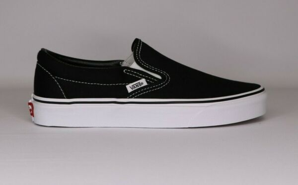 Vans Slip On Black White Canvas Classic Shoes All Size Fast Shipping