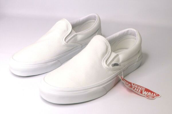 Vans Slip On True White Canvas Classic Shoes All Size Fast Shipping $49.99