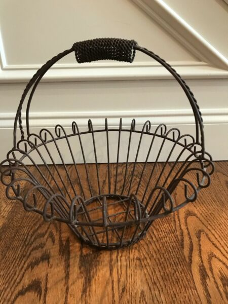 Vintage Curved Iron Wire Basket Flower Planter Made in Mexico