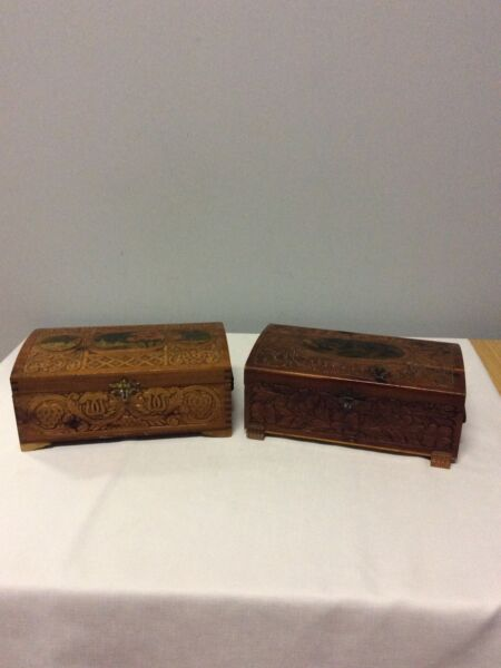 Two Antique Carved Wooden Boxes with Hinged Lid Painted Motif