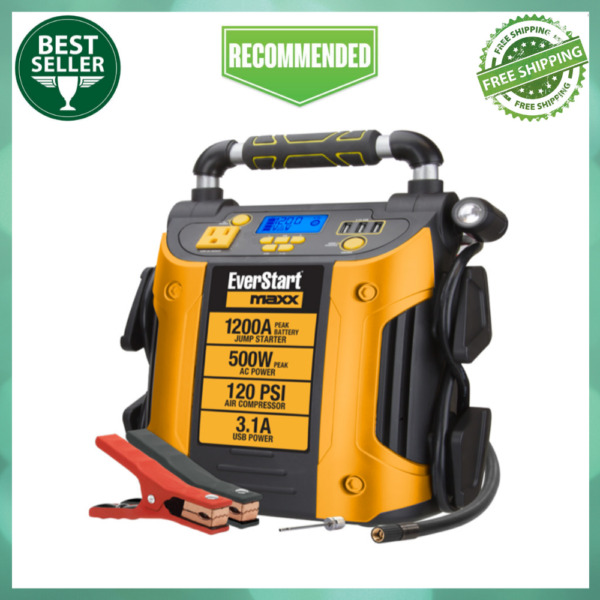 Auto Battery Jump Starter Air Compressor 1200 Peak Amps Portable Car SUV Charge $117.99