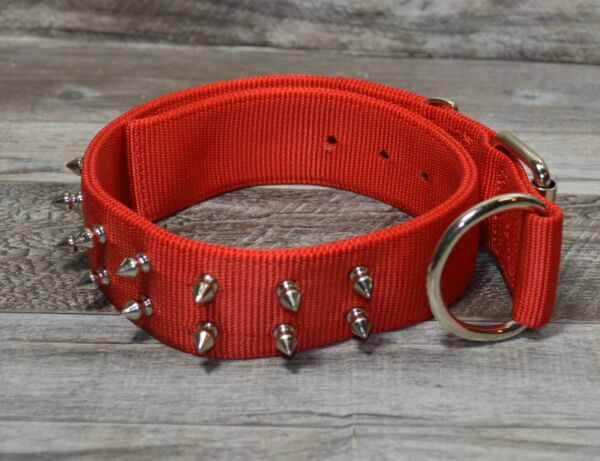 Macho Dog 1 3 4quot; Double Nylon SPIKED DOG COLLAR Red 24quot; $24.99