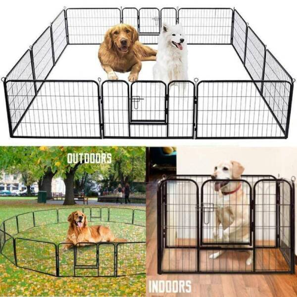 24#x27;#x27; 16 Panels Metal Dog Playpen Large Crate Fence Pet Play Pen Exercise Cage