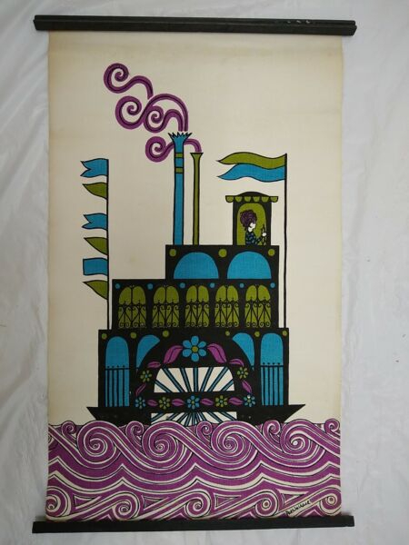 Vintage Screen Print Pop Art Cloth Canvas Steamboat Poster Signed Pat Wallace#x27;70
