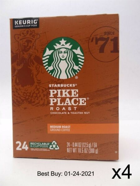 Starbucks Pike Place Medium Roast Coffee K Cup Pods 96 count 24 pack x 4