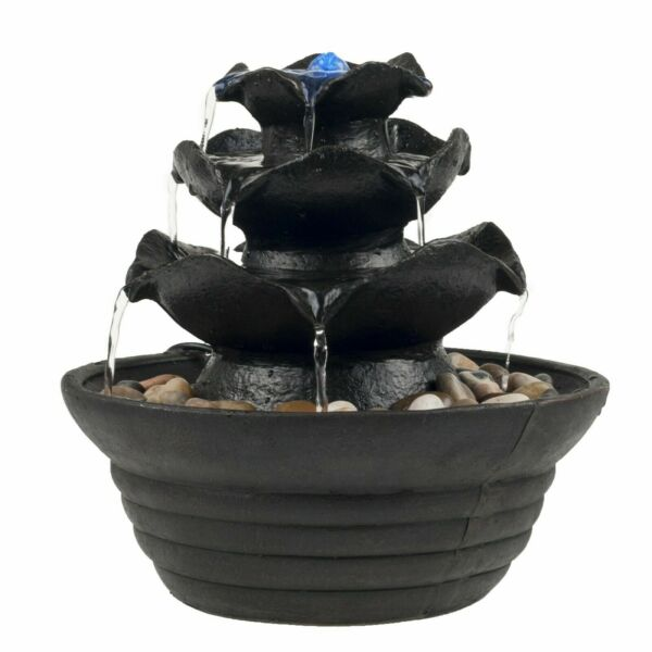 Table Top Electric Water Fountain 3 Tier Cascading Bowls with LED Light $26.99