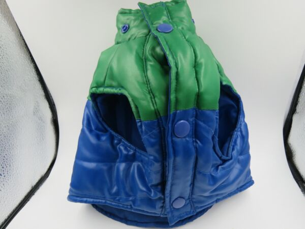 Old Navy Dog Supply Co Quilted Blue Green Puffy Jacket Medium Winter Dog Vest $12.99