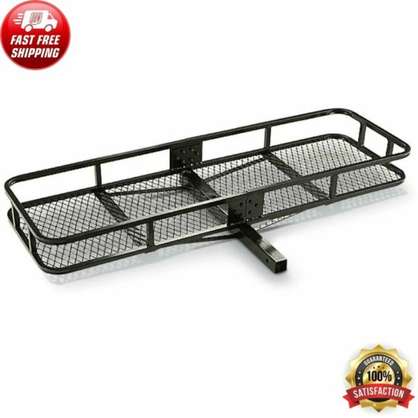 2quot; Hitch Mount Cargo Carrier Steel Basket Luggage Receiver Rack Hauler 500 lbs $96.56