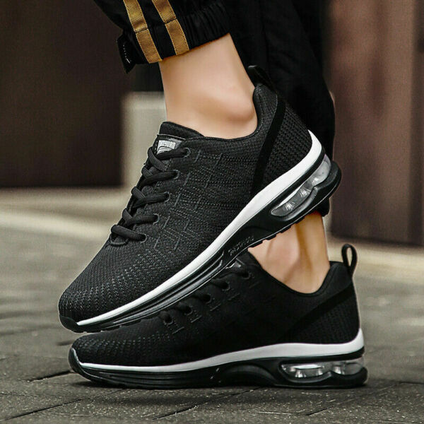 2 PAIRS Men#x27;s Air Cushion Sneakers Gym Sports Lightweight Athletic Running Shoes