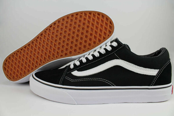 VANS OLD SKOOL BLACK WHITE LOW SUEDE CANVAS CLASSIC 100%Origianl