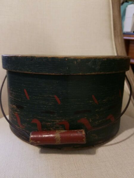 Rare 19th Century Wooden Lidded Sugar Firkin Pantry Box W Original Handle EXC