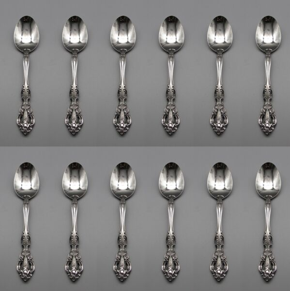 Oneida Stainless MICHELANGELO Oval Soup Place Spoons Set of Twelve * USA PW