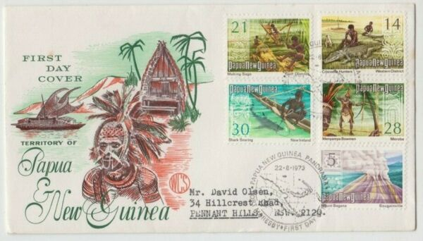 Stamps Papua New Guinea 1973 Local produce set 5 on WCS Wesley green cachet FDC