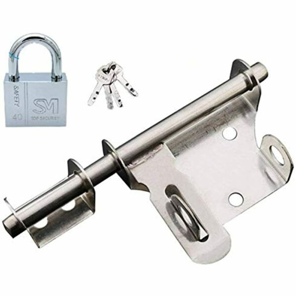 Sliding Bolt With Lock And Key Ouioui Stainless Steel Gate Latch 8 Inch Thicken