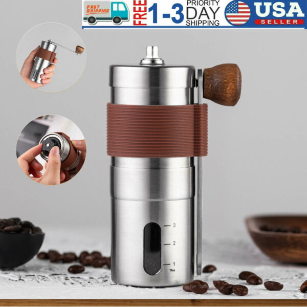 Manual Coffee Grinder Conical Burr Mill Brushed Stainless Steel Coffee Grinding