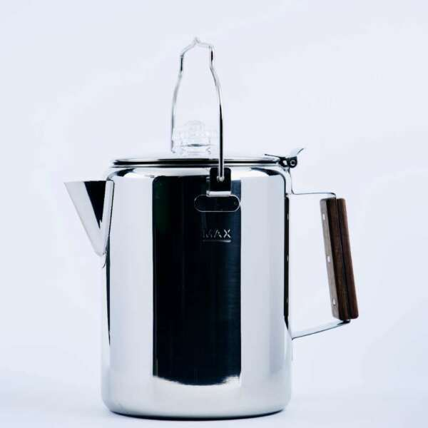 Camping Percolator Coffee Pot 12 Cup Stainless Steel Wooden Handle Attached Top