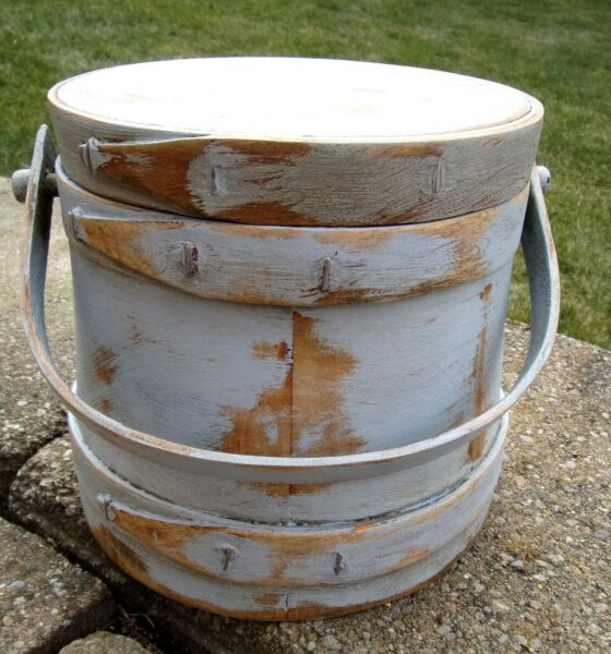 6.5quot; Small Firkin Wood Sugar Bucket Shaker Pantry Box LITE BLUE Paint Primitive