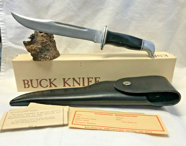 Buck Fixed Blade Knife w Sheath Paperwork amp; Box Pre Date Code Survival Hunting