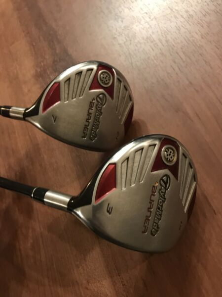 TaylorMade Burner 3 wood and 7 wood with 15 REAX 50g M FLEX graphite shafts RH