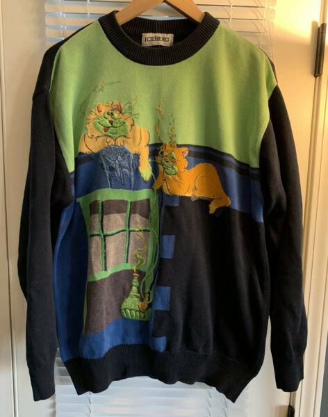 Vintage 90s Iceberg Sweater Cats Smoking Weed amp; Hookah Gas Made In Italy Knit M $99.99