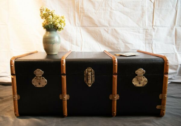 Antique Canvas and Wood Steamer Trunk with Brass Hardware. 1900s Refurbished $750.00
