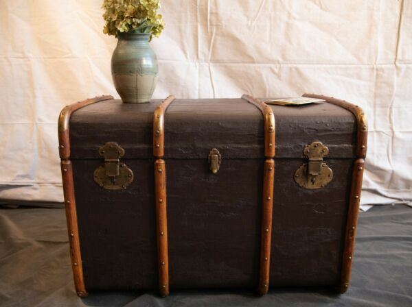 Antique Canvas and Wood Steamer Trunk with Brass Hardware. 1900s Refurbished $550.00