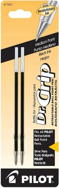 Dr. Grip Ballpoint Ink Refill2 Pack for Retractable Pens Medium Point Black Ink