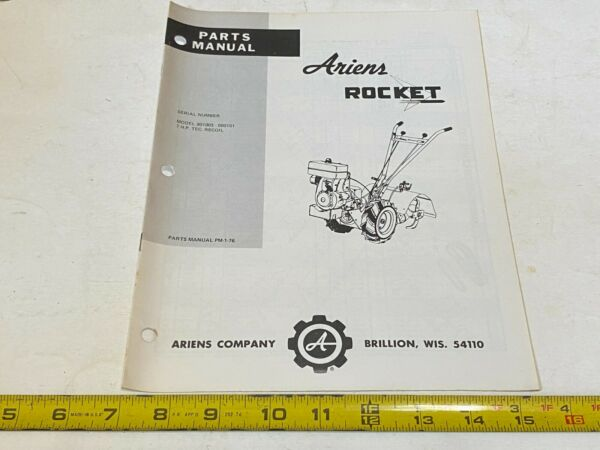Vintage Ariens Parts Manual Rocket Model 901003 000101 PM 1 76