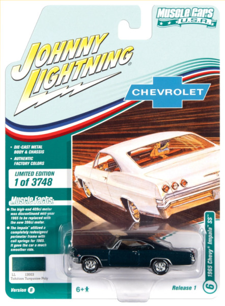1965 Chevy Impala SS Tahitian Turquoise Muscle Johnny Lightning 1:64 Die cast
