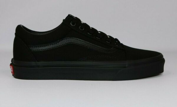 Vans OLD SKOOL Mens Womens All Black Canvas Lace Up Low Top Skateboard Shoes