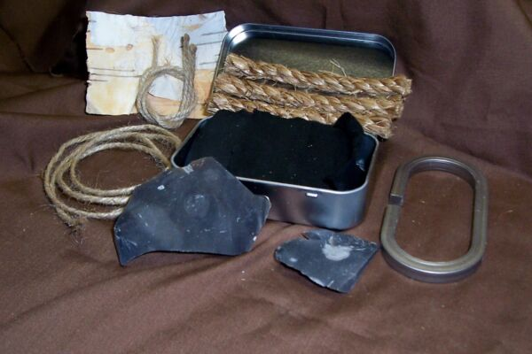 English Flint and Steel Fire Striker Kit A Complete Set with Char Cloth Prepper