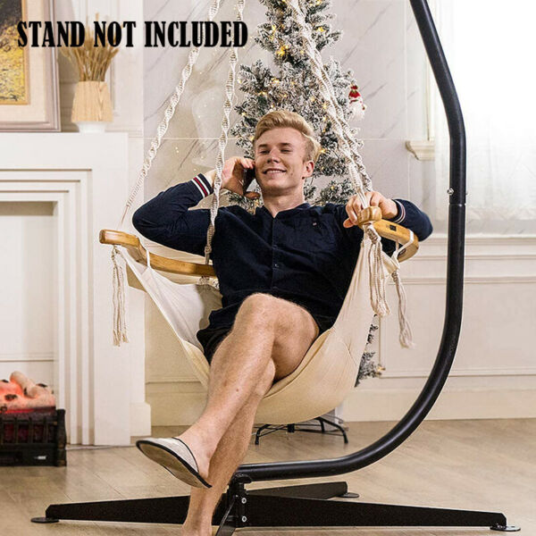 Hanging Hammock Swing Rope Chair w Armrest amp; Cushion 440lbs Capacity Patio $81.69