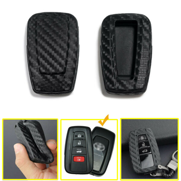 Carbon Grain Soft TPU Key Fob Cover Case Smart Remote For Toyota Camry 2018 2020 $9.99