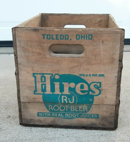 Vtg Wood Hires Root Beer Wooden Crate Box Advertisement TOLEDO Ohio VARIETY CLUB