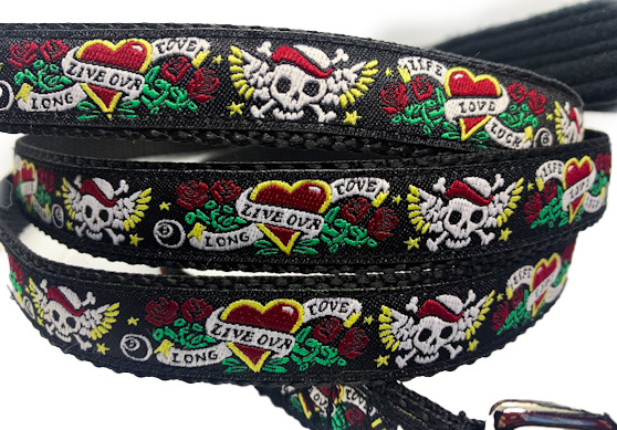 Flying Skull leash 3 4quot; width choose your length cute chihuahua leash or rabbit $11.95