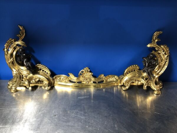 Pair of Polished Chenet or Fireplace Brass Andirons